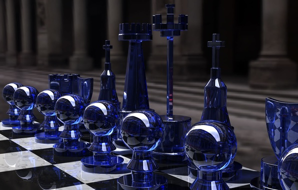 Picture the game, chess, glass, Board, figure, strategy, rendering, black and white, Kjasi, Chess set, blue …