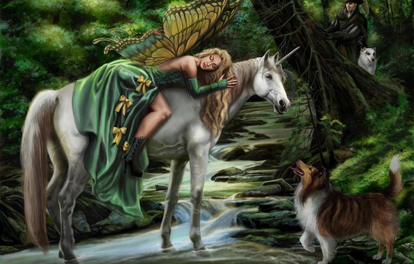 Picture girl, dog, fairy, fantasy, art, unicorn, hunter, Faerie steed, Sandra Chang, magic forest