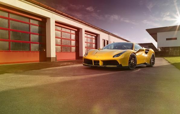 Picture machine, yellow, Ferrari, supercar, supercar, yellow, the front, Rosso, Novitec, 488 GTB