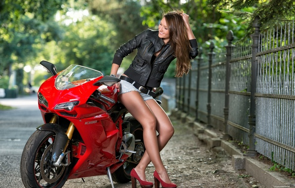 Picture the fence, motorcycle, Ducati