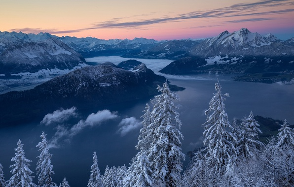 Picture winter, trees, mountains, lake, sunrise, dawn, morning, Switzerland, ate, Alps, panorama, Alps, Lake Lucerne, mount …