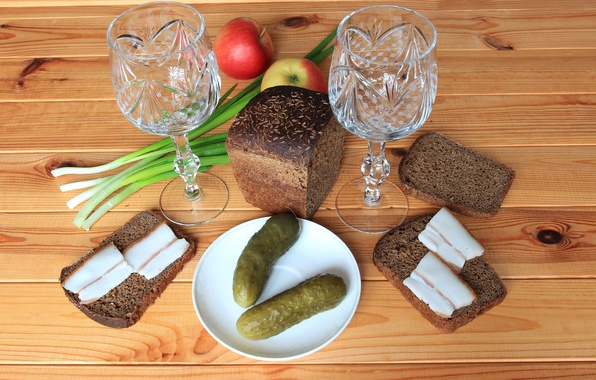 Picture apples, bow, bread, still life, glasses, cucumbers, sandwiches, fat