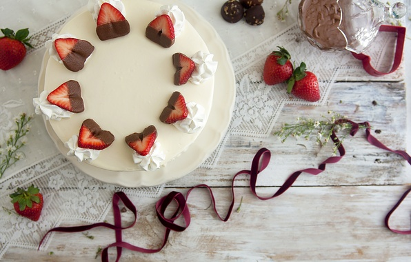 Picture love, berries, holiday, food, chocolate, strawberry, tape, cake, love, cake, cake, cream, dessert, food, sweet, …