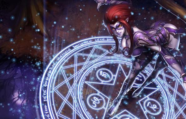 Picture girl, magic, mask, spikes, costume, pentagram, League of Legends, LoL, Evelynn