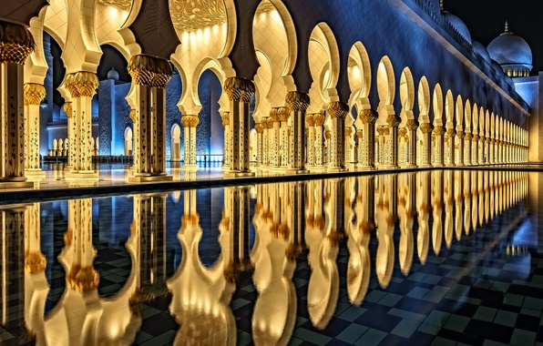Picture reflection, pool, architecture, The Sheikh Zayed Grand mosque, Abu Dhabi