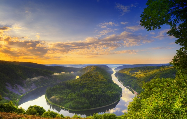 Picture summer, the sky, clouds, river, snake, Germany, Saar-slife