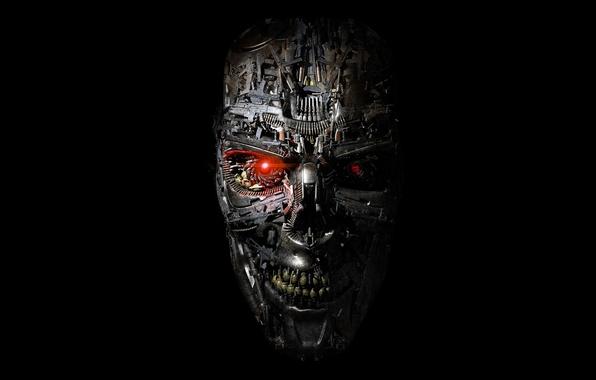 Picture weapons, creative, fiction, guns, skull, terminator, black background, cartridges, grenades, machines, Terminator: Genisys, Terminator: Genesis