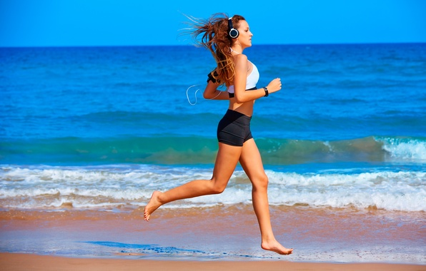 Picture beach, sand, training, running, sportswear, jogging