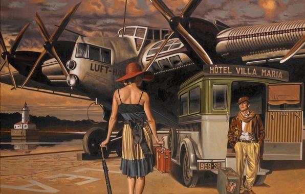Picture machine, the plane, umbrella, woman, figure, back, hat, male, suitcase, Peregrine Heathcote
