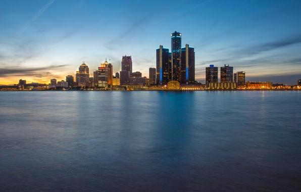 Picture skyline, evening, Detroit, Ontario, blue hour, Windsor