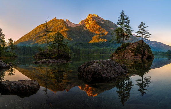 Picture forest, trees, mountains, lake, stones, rocks, Germany, Bayern, Islands, Berchtesgaden Alps, Lake Hintersee and Hochkalter