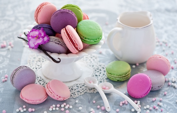 Picture cookies, dishes, colorful, dessert, spoon, cuts, Anna Verdina, macaron, macaron