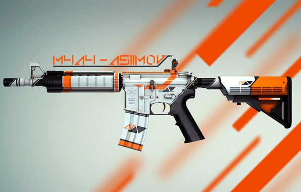 Picture counter strike, global offensive, skin, cs:go, M4A4, asiimov