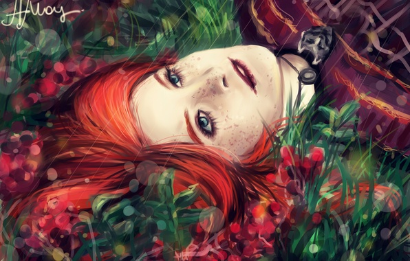Picture grass, girl, face, freckles, red, Game of thrones, A song of ice and fire, Sansa …