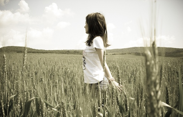 Picture wheat, girl, nature, girls, mood, rye, black and white, brunette