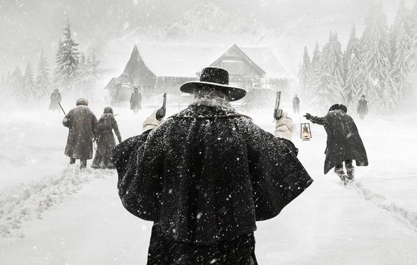 Picture Winter, Snow, Men, Woman, Kurt Russell, SHERIFF, Movie, Film, Quentin Tarantino, Pistols, 2015, Samuel L. ...