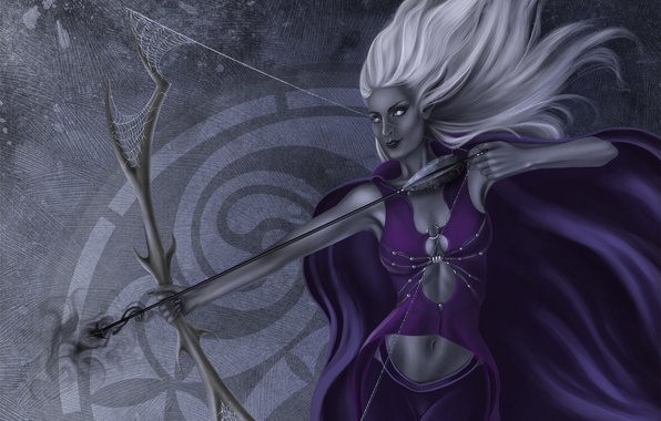 Picture girl, web, bow, Archer, art, elf, white hair, drow