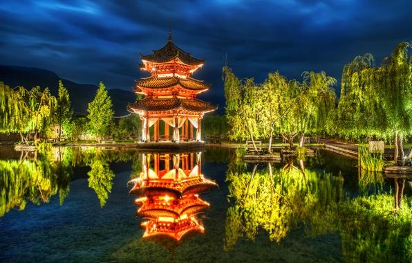 Picture trees, pond, Park, reflection, China, China, pagoda, Lijiang