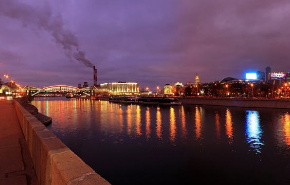 Picture bridge, the city, lights, river, the evening, Moscow, promenade, Moscow, capital, Moscow-City, Kiev railway station