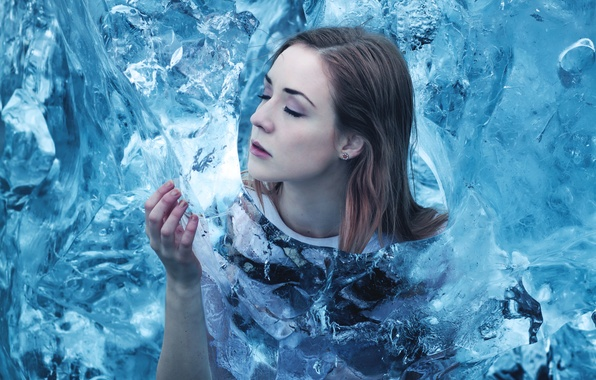 Picture cold, girl, ice