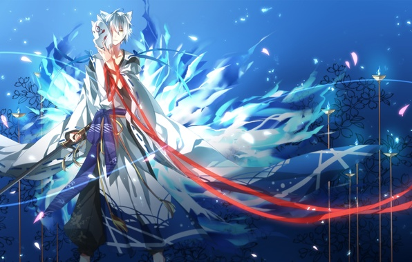Picture sword, petals, mask, Guy, ears