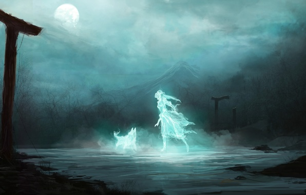 Picture girl, night, fiction, the moon, mountain, wolf, spirit, art, Ghost, ruins, arch