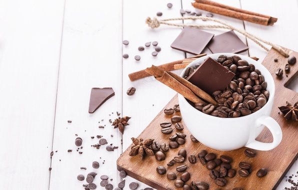 Picture coffee, chocolate, grain, Cup, sugar, cinnamon