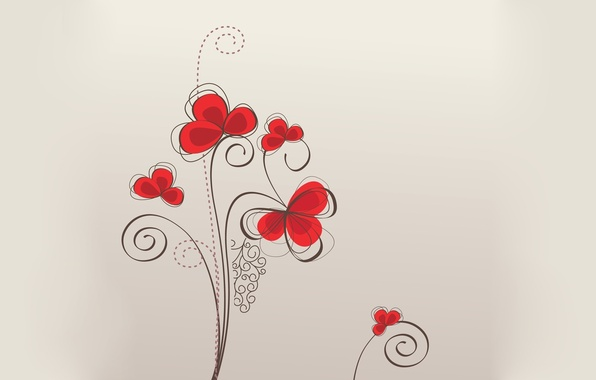 Picture flowers, red, background, patterns, texture, wallpapers