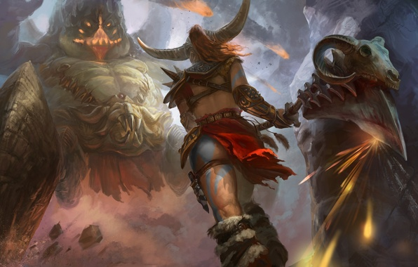 Picture girl, weapons, fiction, the game, monster, art, Diablo 3, Barbarian, Barbarian