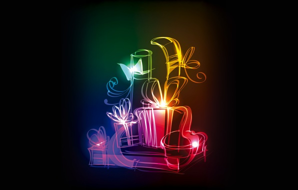 Picture colors, gifts, christmas, neon, gifts, xmas