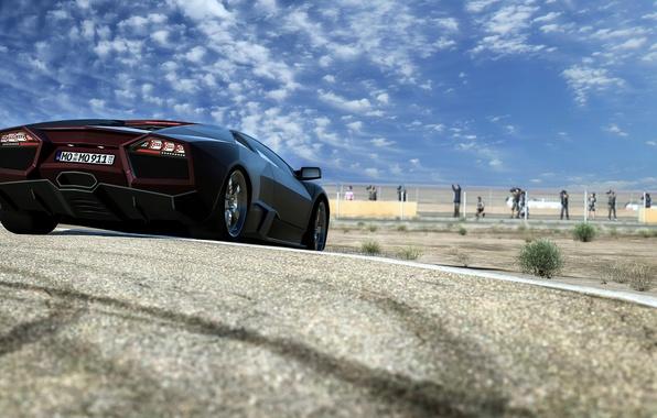 Picture the sky, clouds, track, Lamborghini