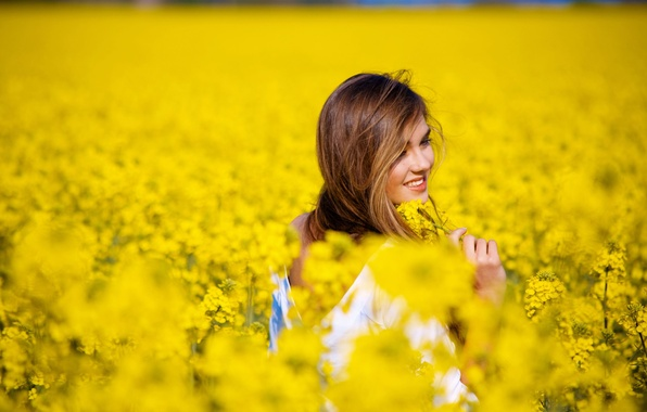 Picture field, girl, flowers, smile, background, mood, yellow, flowers, widescreen, full screen, HD wallpapers, widescreen