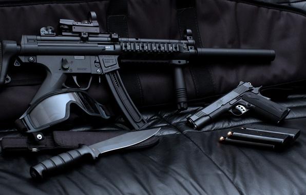 Picture gun, mask, knife, machine, rifle, shop
