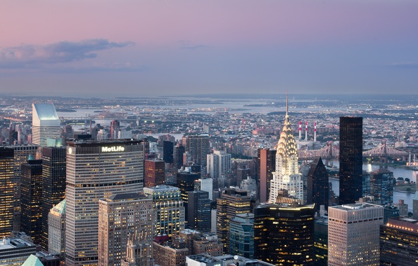 Picture the sky, clouds, bridge, city, lights, lights, river, building, home, The city, river, sky, bridge, …