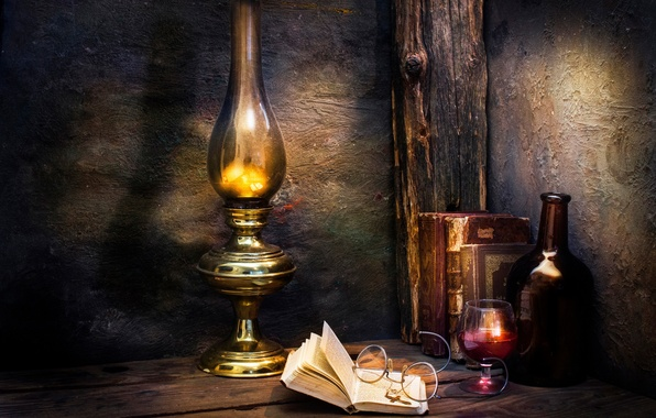 Wallpaper wine, books, lamp, glasses, cross, Those were ...