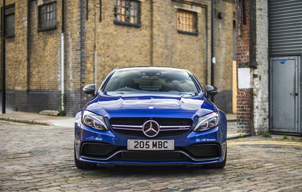 Photo wallpaper Mercedes-Benz, Coupe, C-Class, Mercedes, AMG, blue, C205