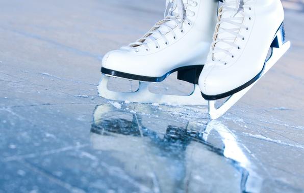Picture ice, macro, rink, skates