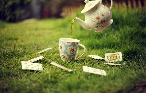 Picture greens, card, grass, lawn, tea, kettle, Cup