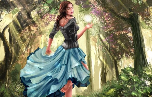 Picture forest, leaves, girl, light, trees, flowers, face, smile, feet, hair, ball, dress, art, curls