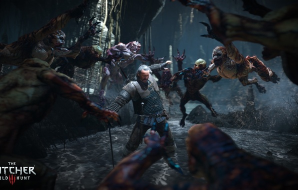 Picture sword, monsters, the Witcher, Gul, The Witcher 3: Wild Hunt, The Witcher 3: Wild Hunt, …