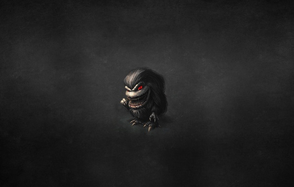 Picture the dark background, monster, hairy, red eyes, toothpick, hairy, Critters, The Critters