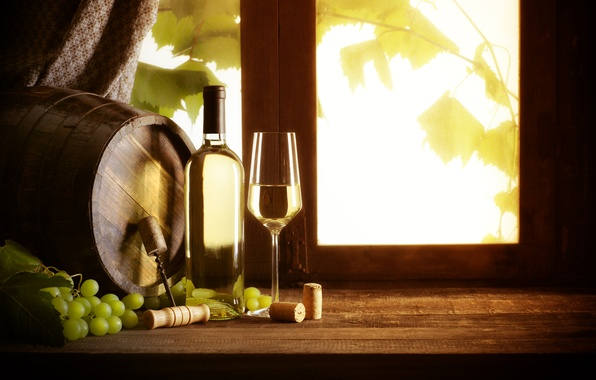 Picture wine, white, glass, bottle, window, grapes, tube, corkscrew, vine, barrel