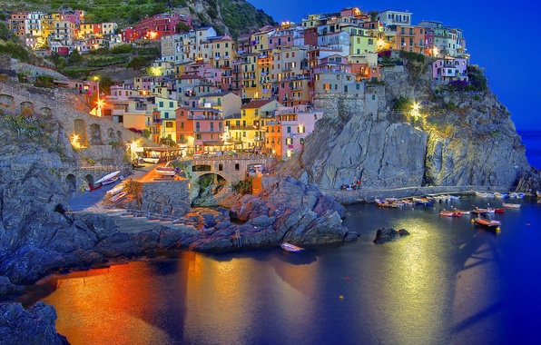 Picture lights, reflection, the evening, Italy, twilight, Italia, Manarola, Manarola, Liguria, Liguria