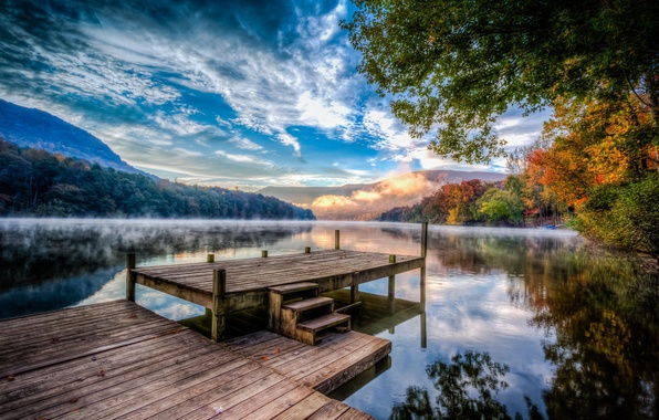Picture autumn, forest, clouds, trees, nature, fog, river, pier, haze, USA