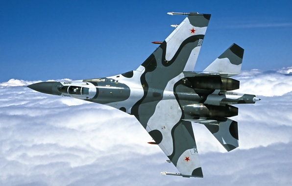 Picture the sky, flight, wings, fighter, cabin, Su-27