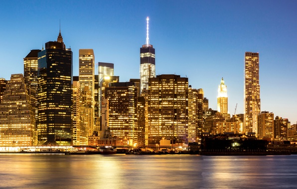 Photo wallpaper lights, USA, skyscrapers, night, New York, coast