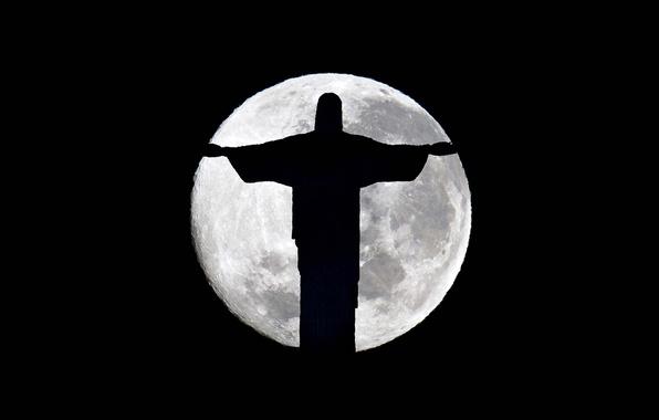 Picture night, darkness, the moon, silhouette, Statue, twilight, Brazil, Rio de Janeiro, Cristo Redentor, Brasil, Rio …