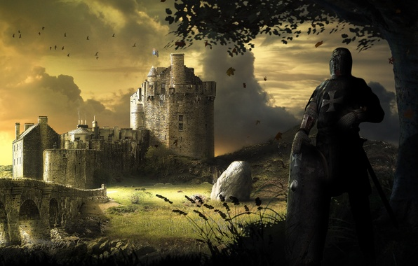 Picture bridge, stones, castle, tree, sword, art, fortress, shield, knight