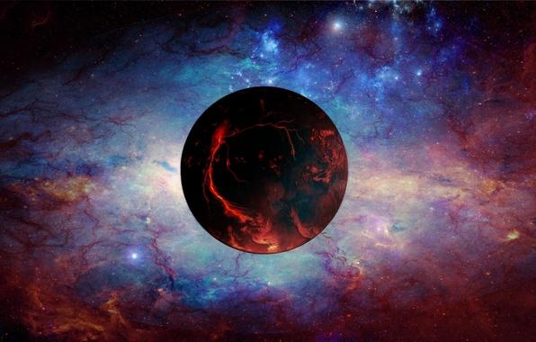 Picture dark, light, Star, blue, planet, Sci FI