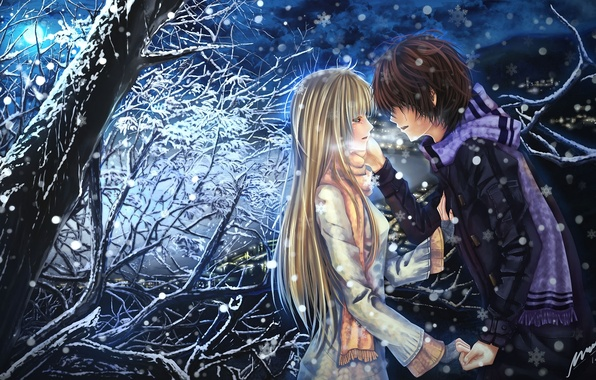 Picture girl, snow, night, emotions, tree, the moon, scarf, tears, art, pair, guy